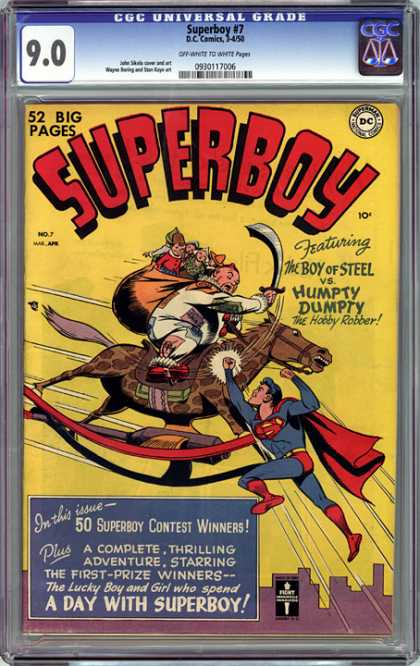 CGC Graded Comics - Superboy #7 (CGC) - Humpty Dumpty - The Hobby Robber - Rocking Horse - Bag Of Toys - Sword