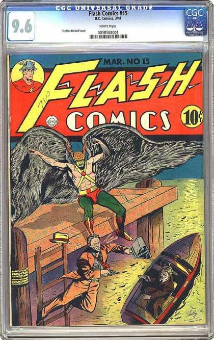 CGC Graded Comics - Flash Comics #15 (CGC) - Wings - Table - Fur - Boats - Green