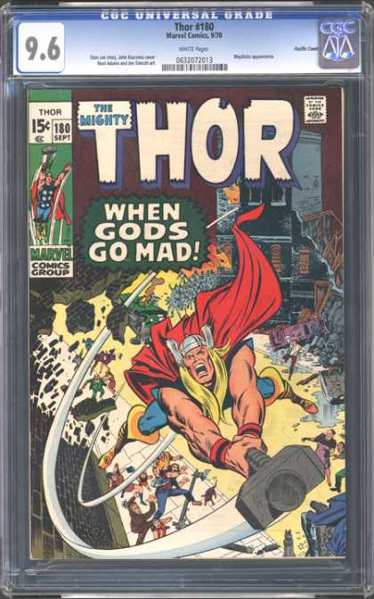 CGC Graded Comics - Thor #180 (CGC) - Mighty Thor - Hammer - When Gods Go Mad - Cape - Destroy