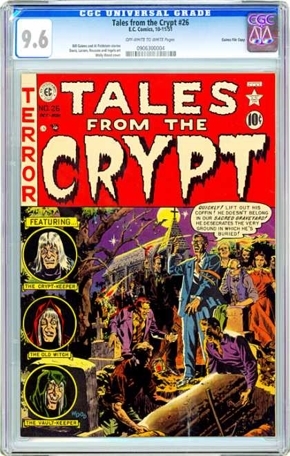 CGC Graded Comics - Tales from the Crypt #26 (CGC) - Tales From The Cryt - The Crypt-keeper - The Old Witch - The Vault-keeper - Terror