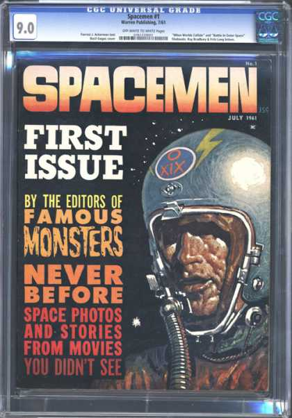 CGC Graded Comics - Spacemen #1 (CGC) - Spacemen - First Issue - Famous Monsters - Space Photos And Stories From Movies - Astronaut
