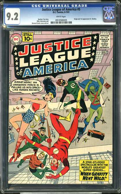 CGC Graded Comics - Justice League of America #5 (CGC) - Justice League - Wonderwoman - Green Lantern - The Flash - Aquaman