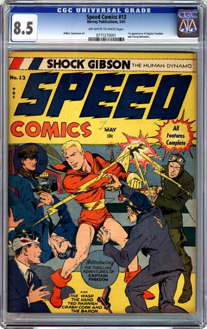 CGC Graded Comics - Speed Comics #13 (CGC) - Speed - Captain Freedom - Electrical Shocks - Gun - Enemies