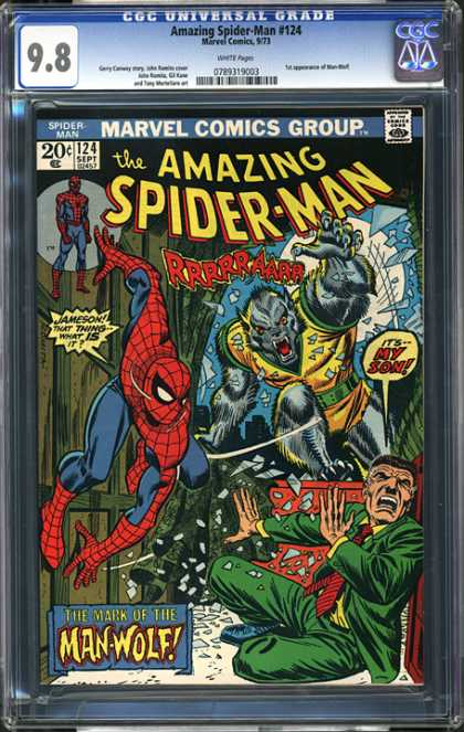 CGC Graded Comics - Amazing Spider-Man #124 (CGC) - Marvel Comics - The Amazing Spider Man - The Mark Of The Man Wolf - Wood Walls - Father