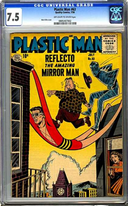 CGC Graded Comics - Plastic Man #63 (CGC) - Plastic Man - Reflecto - Mirror Man - Town Clock - Clouds