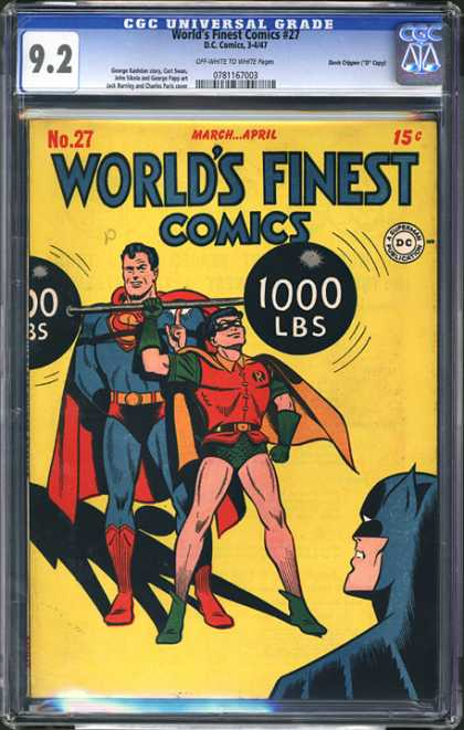 CGC Graded Comics - World's Finest Comics #27 (CGC) - Batman - World Finest Comics - Robin - Superman - 1000 Lbs Weights