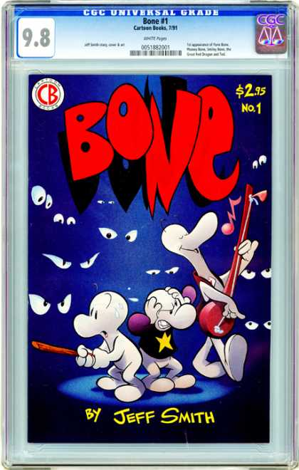 CGC Graded Comics - Bone #1 (CGC) - Bone - Jeff Smith - Eyes - Music - Self-published