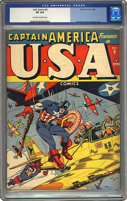 CGC Graded Comics - USA Comics #8 (CGC) - Captain America - Planes - Pilots - Super-heroes - Crashing Plane