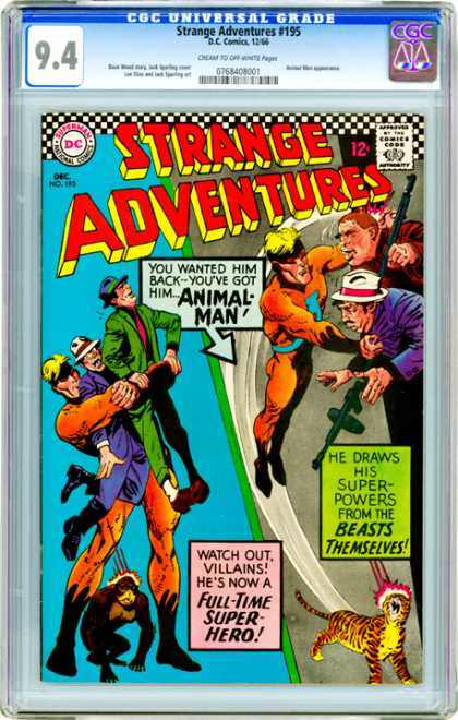 CGC Graded Comics - Strange Adventures #195 (CGC) - Dc Comics - Strange Adventures - Animal Man - Monkey - Tiger