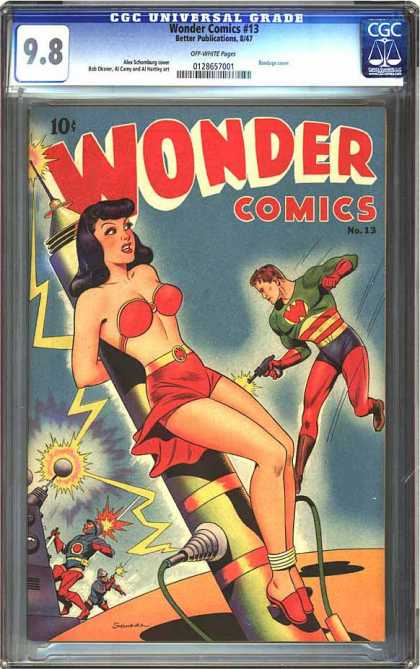CGC Graded Comics - Wonder Comics #13 (CGC) - Woman In Bikini - Man Shooting Gun - Electrodes - Electricity Bolts - Two Goons