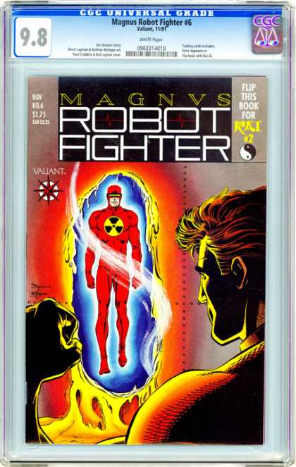 CGC Graded Comics - Magnus Robot Fighter #6 (CGC) - Red Suit - Radiation Symbol - Radioactive - Wall Melting - Fight