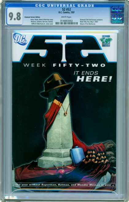 CGC Graded Comics - 52 #52 (CGC) - Flask - Gold Chain - Monument - Scarf - Gentlements Hat