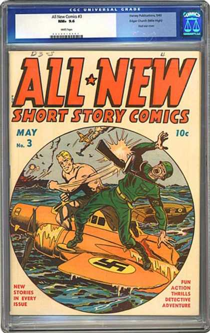 CGC Graded Comics - All New Comics #3 (CGC) - All New Short Story Comics - Swastika - Plane - Gun - Punch
