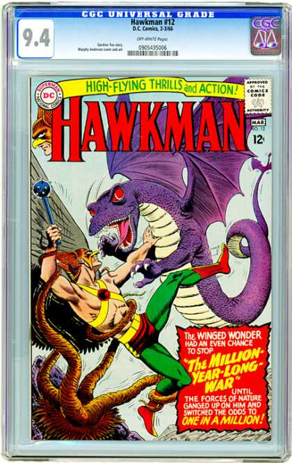 CGC Graded Comics - Hawkman #12 (CGC) - Cgc - Hawkman - Million Year War - Flying Thrill - Winged Wonder