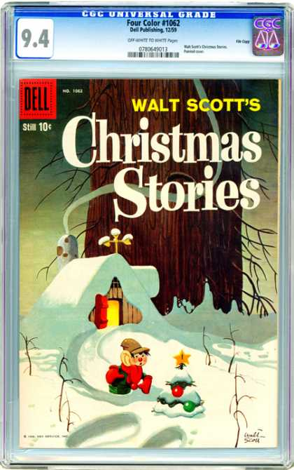 CGC Graded Comics - Four Color #1062 (CGC) - Christmas Tree - Christmas Stories - Snow - Cottage - Elf