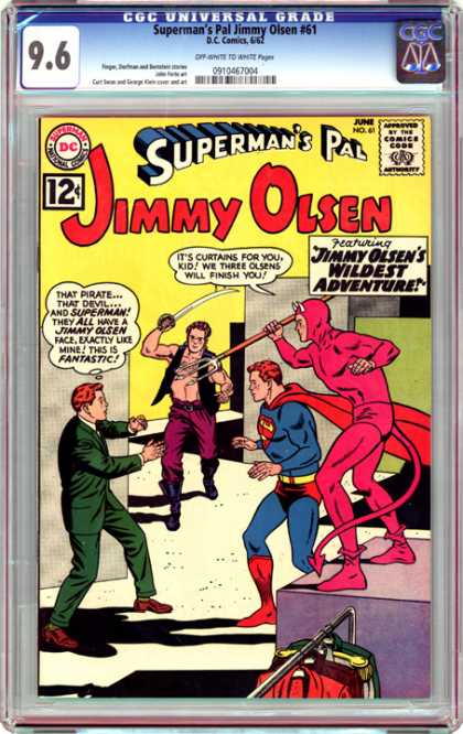 CGC Graded Comics - Superman's Pal Jimmy Olsen #61 (CGC) - Supermans Pal - Jimmy Olsen - Sword - Suits - Devil