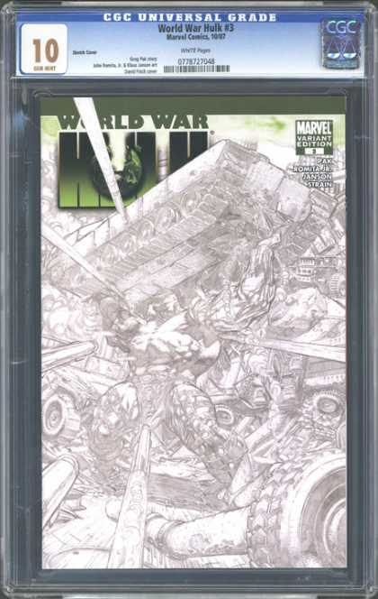 CGC Graded Comics - World War Hulk #3 (CGC) - Hand Drawn - Tank - Distruction - Green - War Zone