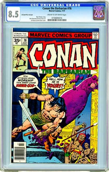 CGC Graded Comics - Conan the Barbarian #76 (CGC) - Brave Man - Holding Sword - Big Bird - Many People - Fighting Man
