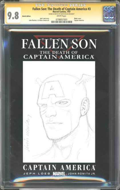 CGC Graded Comics - Fallen Son: The Death of Captain America #3 (CGC) - Drawing - The Death Of Captain America - A On Forehead - Stern Look - Jeph Loeb