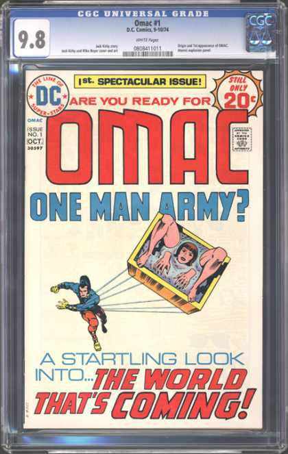 CGC Graded Comics - Omac #1 (CGC) - Omac - One Man Army - A Startling Look Into The World That Is Coming - Woman - Throw