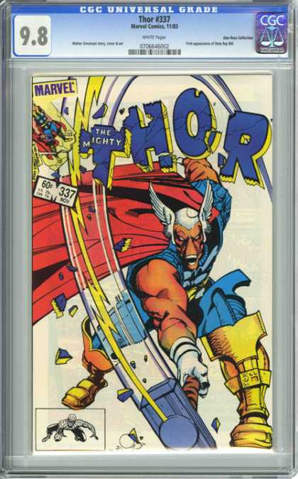 CGC Graded Comics - Thor #337 (CGC) - The Mighty Thor - Marvel Comics - Sledge Hammer - Shin Gaurd - Cape