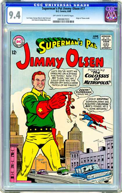 CGC Graded Comics - Superman's Pal Jimmy Olsen #77 (CGC) - Jimmy Olsen - Supermans Friend - The Colossus Of Metropolis - Colossal Boys Power - Superhero