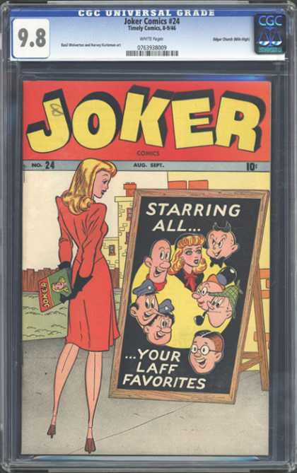 CGC Graded Comics - Joker Comics #24 (CGC) - Red Dress - Joker Comics 24 - Blonde Hair - Black Gloves - August September