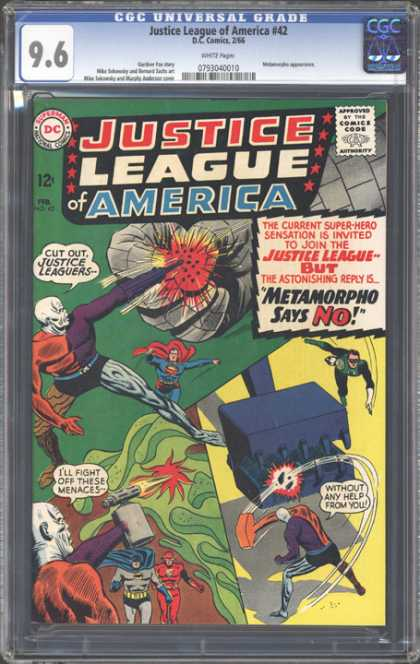CGC Graded Comics - Justice League of America #42 (CGC) - Invitation - Superman - Green Lantern - Flash - Sensation