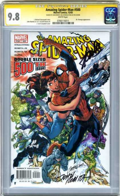 CGC Graded Comics - Amazing Spider-Man #500 (CGC) - Spider-man - 500th Issue - Signed - Double Sized - Marvel