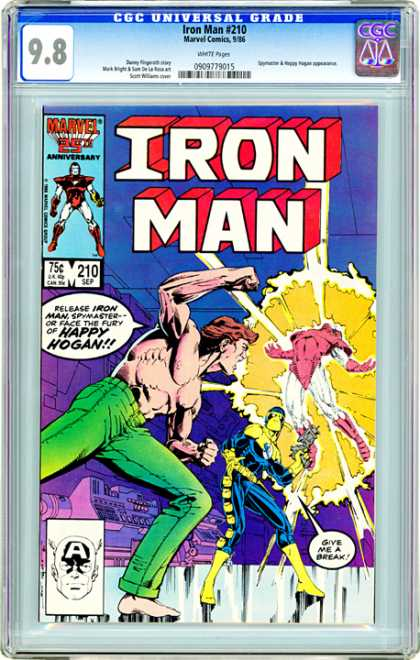 CGC Graded Comics - Iron Man #210 (CGC) - Fist - Green Pants - Muscles - Laser Gun - Blast