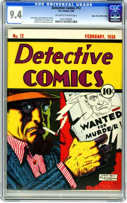 CGC Graded Comics - Detective Comics #12 (CGC) - Wanted For Murder - Cigarette - Hat - Poster - Smoke
