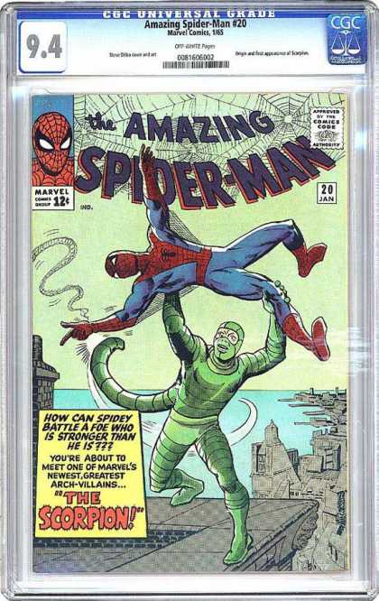 CGC Graded Comics - Amazing Spider-Man #20 (CGC) - Roof Top - Scorpian Man - Water - Web - Red Boots