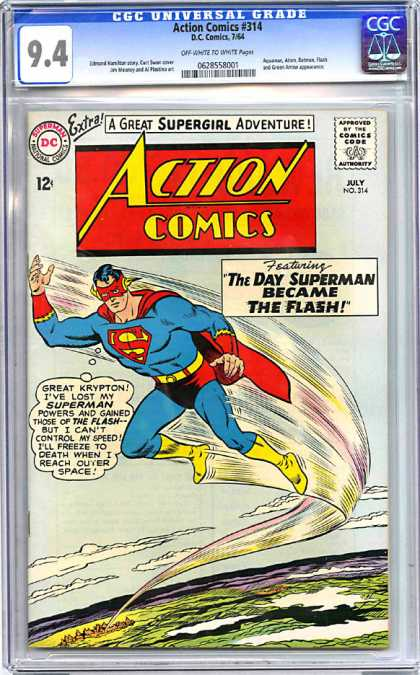 CGC Graded Comics - Action Comics #314 (CGC) - Superman - The Flash - Supergirl - The Day Superman Became The Flash - Krypton