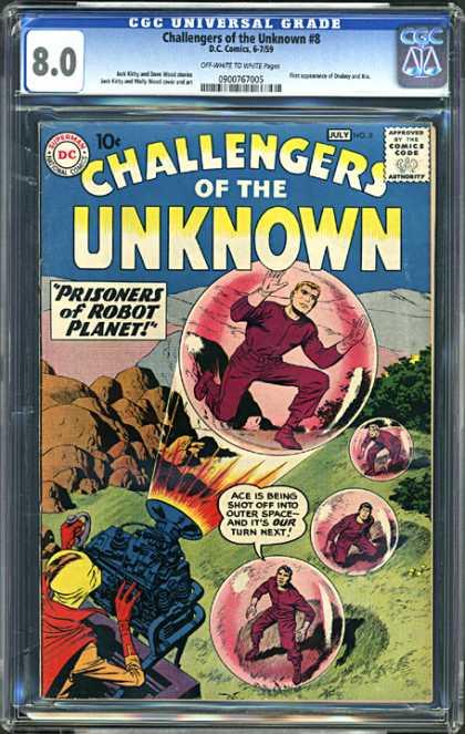 CGC Graded Comics - Challengers of the Unknown #8 (CGC) - Prisoners Of Robot Planet - Bubbles - Ray Gun - Outerspace - Ray