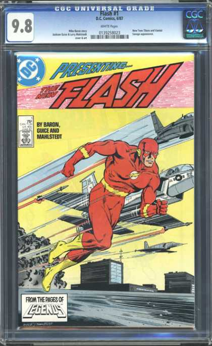CGC Graded Comics - Flash #1 (CGC) - Flash - Jets - Buildings - Smoke - Redsuit