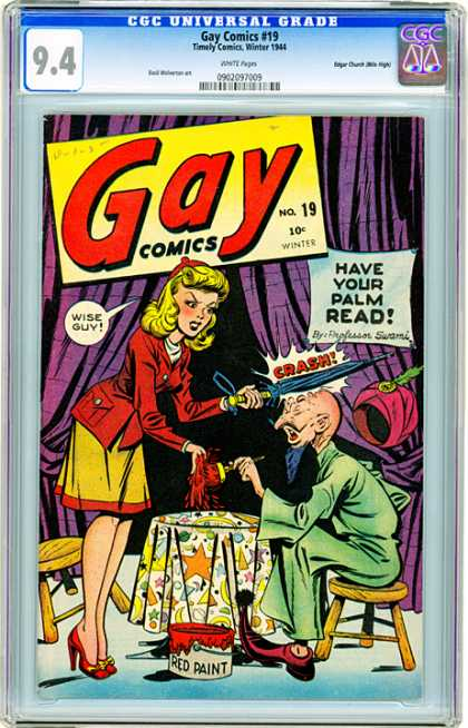 CGC Graded Comics - Gay Comics #19 (CGC) - Gay Comics - Timely Comics Winter - Umbrella - Red Jacket - Palm Read