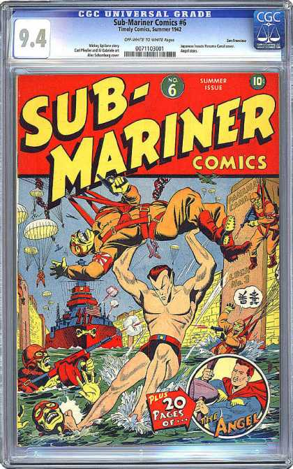 CGC Graded Comics - Sub-Mariner Comics #6 (CGC) - Ship - Parachute - Water - Buildings - Strong