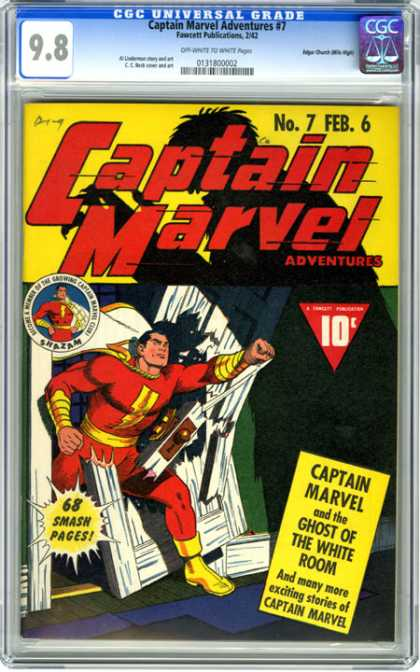 CGC Graded Comics - Captain Marvel Adventures #7 (CGC) - Captain Marvell - No7 - Feb 6 - 68 Smash Pages - Ghost Of The White Room