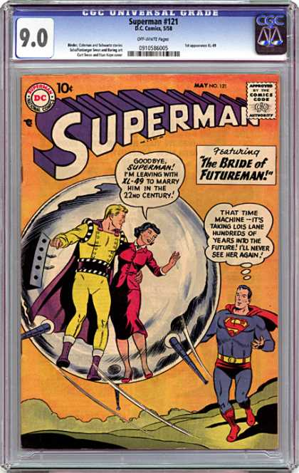 CGC Graded Comics - Superman #121 (CGC) - Superman - Futureman - Time Machine - Lois Lane - Into The Future Of The 22nd Century
