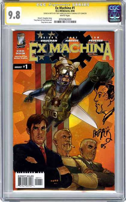 CGC Graded Comics - Ex Machina #1 (CGC) - Brian Vaughan - Tony Harris - Tom Feister - August 1 - 3 Men