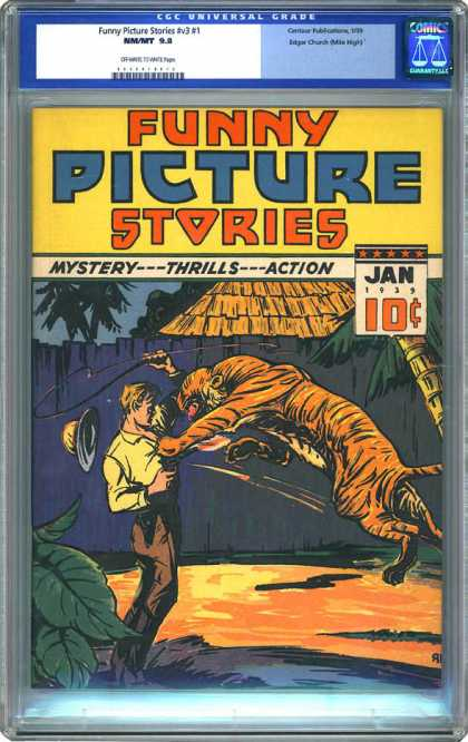 CGC Graded Comics - Funny Picture Stories #v3 #1 (CGC) - Tiger - Whip - Attacking Man - Jungle - Hut