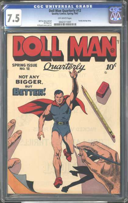 CGC Graded Comics - Doll Man Quarterly #12 (CGC) - Superhero - Pencil - Eraser - Drawing - Hands