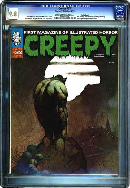 CGC Graded Comics - Creepy #32 (CGC) - Illustrated Horror - Full Moon - Windy Road - Creature - Creepy