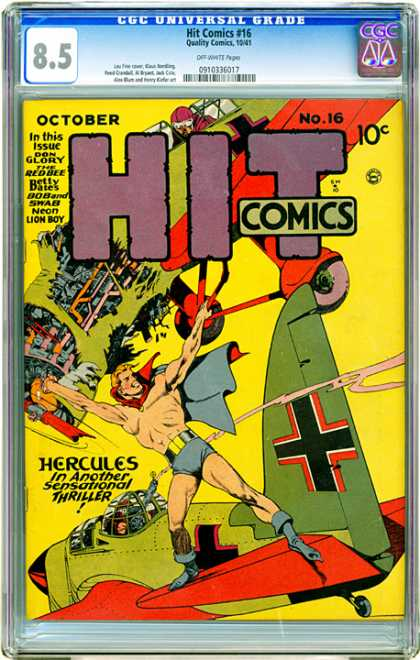 CGC Graded Comics - Hit Comics #16 (CGC) - Don Glory - Redbee - Betty Bates - Airplane - Hercules