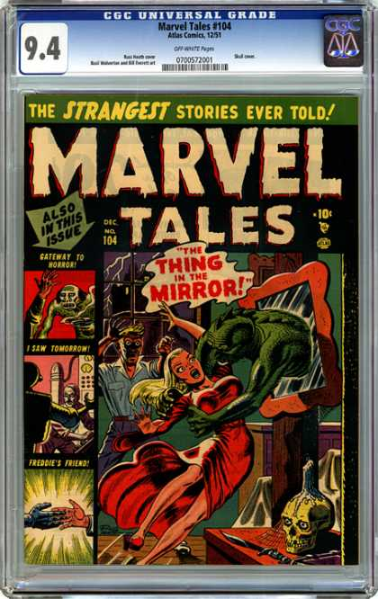 CGC Graded Comics - Marvel Tales #104 (CGC) - Mirror - Screaming Girl - Skull Candle - Knife On Table - Hand Shake