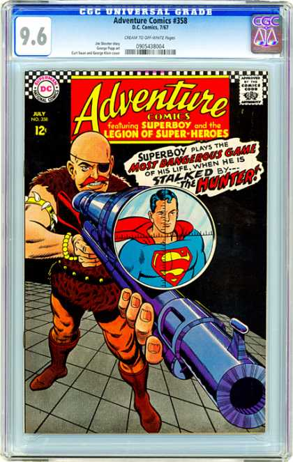 CGC Graded Comics - Adventure Comics #358 (CGC) - Adventure Comics - Approved By The Comics Code Authority - Superman - National Comics - The Hunter