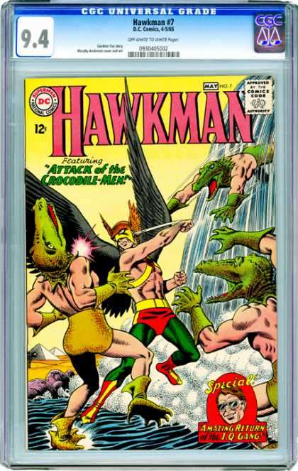 CGC Graded Comics - Hawkman #7 (CGC) - Crocodile Men - Waterfall - River - Pyramids - Iq Gang