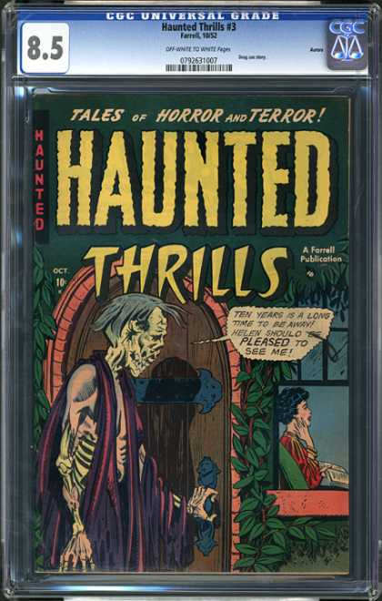 CGC Graded Comics - Haunted Thrills #3 (CGC) - Skeleton - Dead - Peep Show - Horror - Window