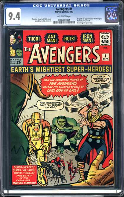 CGC Graded Comics - Avengers #1 (CGC) - Earths Mightiest Super-heros - Battle - Loki - God Of Evil - Hammer