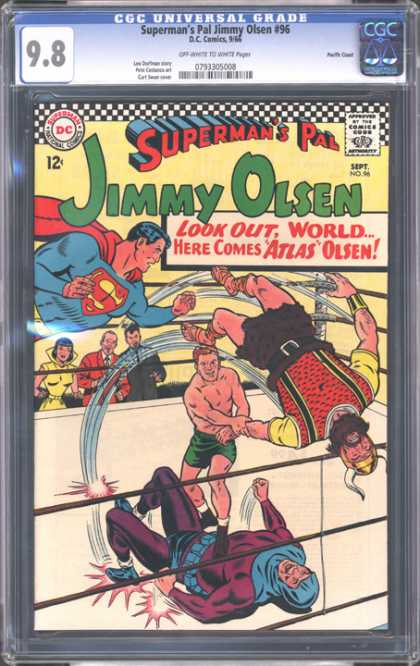 CGC Graded Comics - Superman's Pal Jimmy Olsen #96 (CGC) - Look Out World - Atlas Olsen - Jimmy Olsen - Supermans Pal - Wrestling